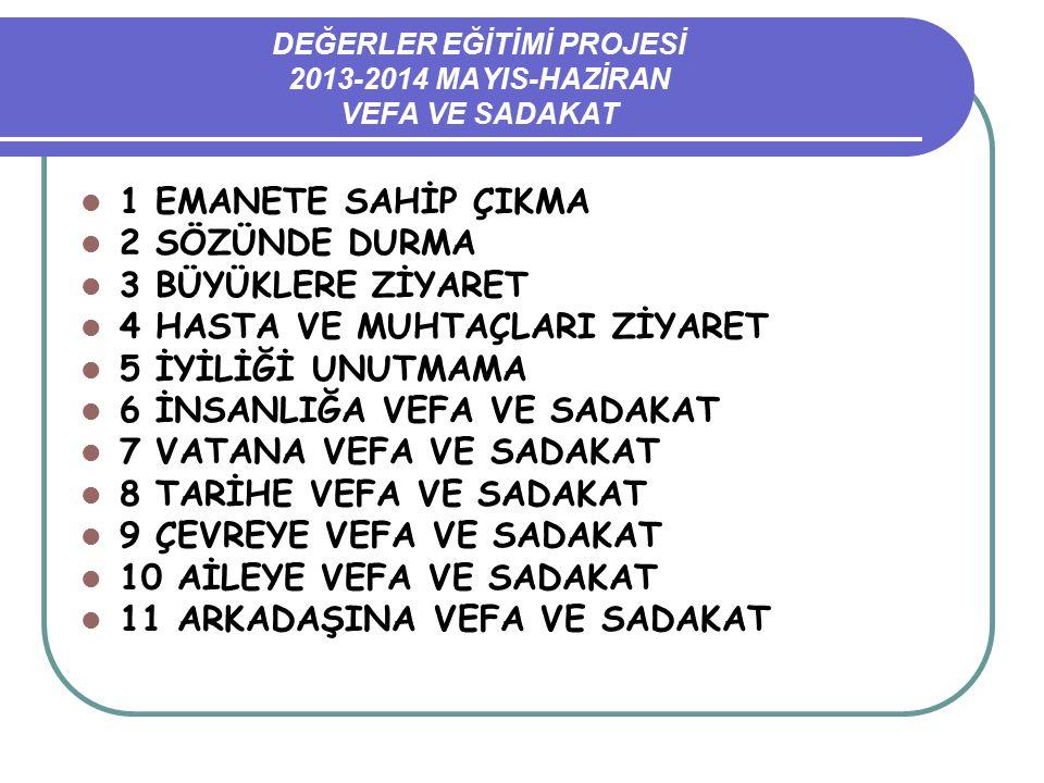DEĞERLER EĞİTİMİ PROJESİ 2013-2014 MAYIS-HAZİRAN VEFA VE SADAKAT