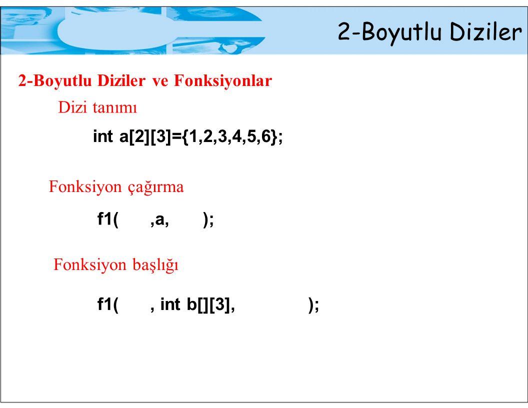 2-Boyutlu Diziler 2-Boyutlu Diziler ve Fonksiyonlar Dizi tanımı
