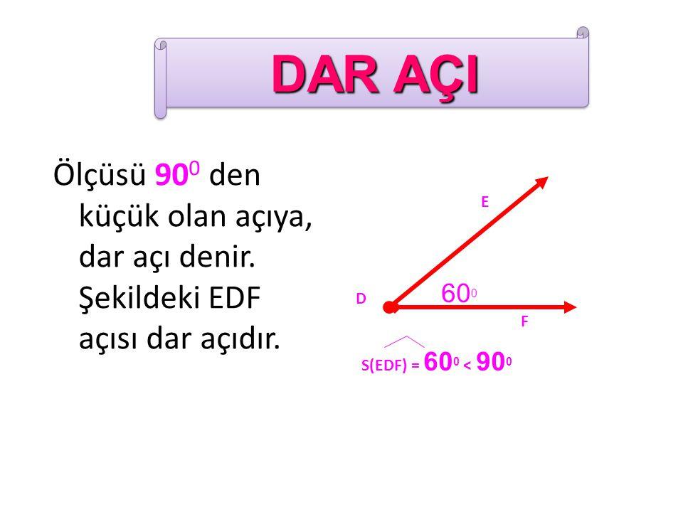 DAR AÇI Ölçüsü 900 den küçük olan açıya, dar açı denir. Şekildeki EDF açısı dar açıdır. 600. E. F.