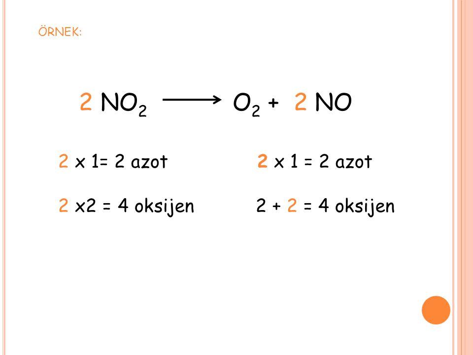 2 NO2 O2 + 2 NO 2 x2 = 4 oksijen 2 + 2 = 4 oksijen