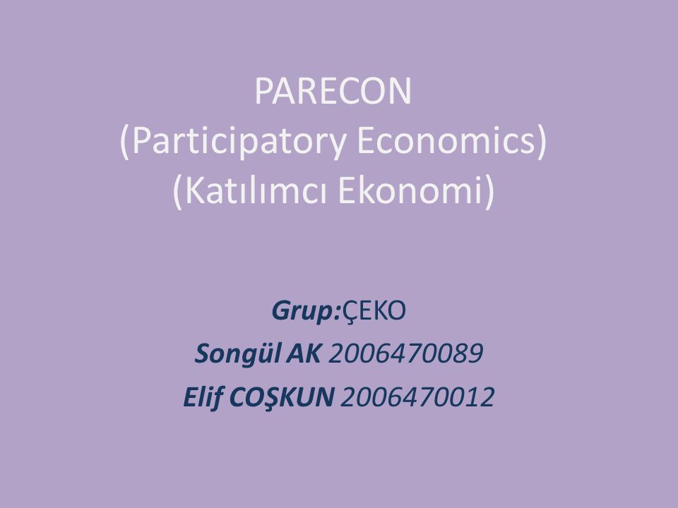 PARECON (Participatory Economics) (Katılımcı Ekonomi)