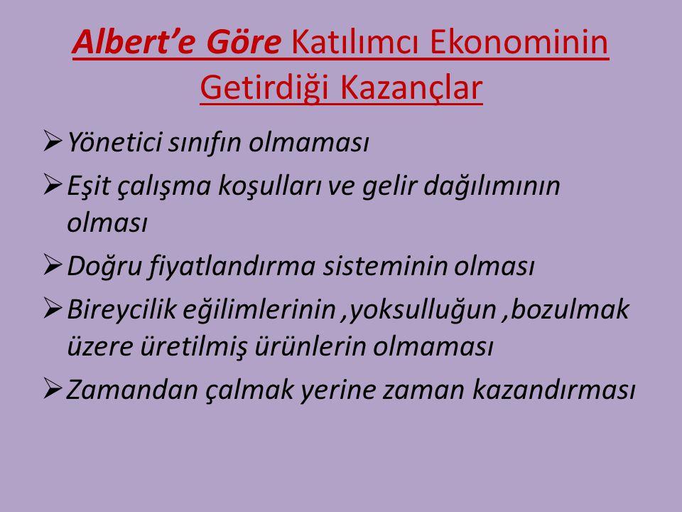 Albert'e Göre Katılımcı Ekonominin Getirdiği Kazançlar