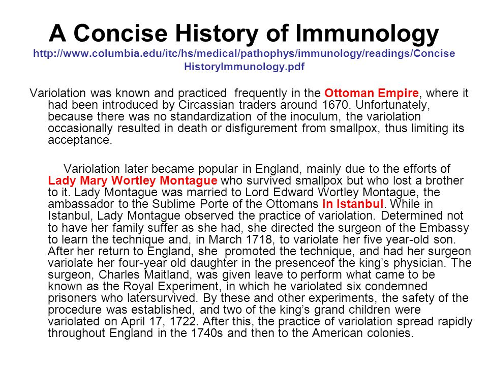 A Concise History of Immunology http://www. columbia