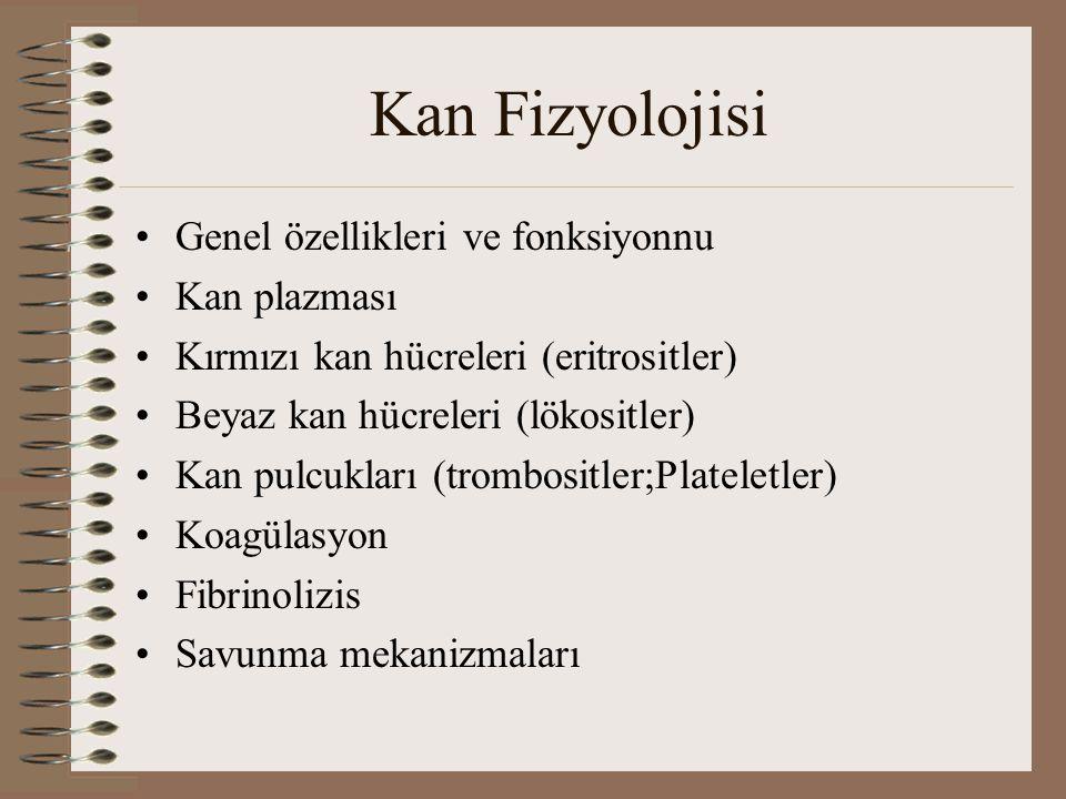 Kan Fizyolojisi Genel özellikleri ve fonksiyonnu Kan plazması