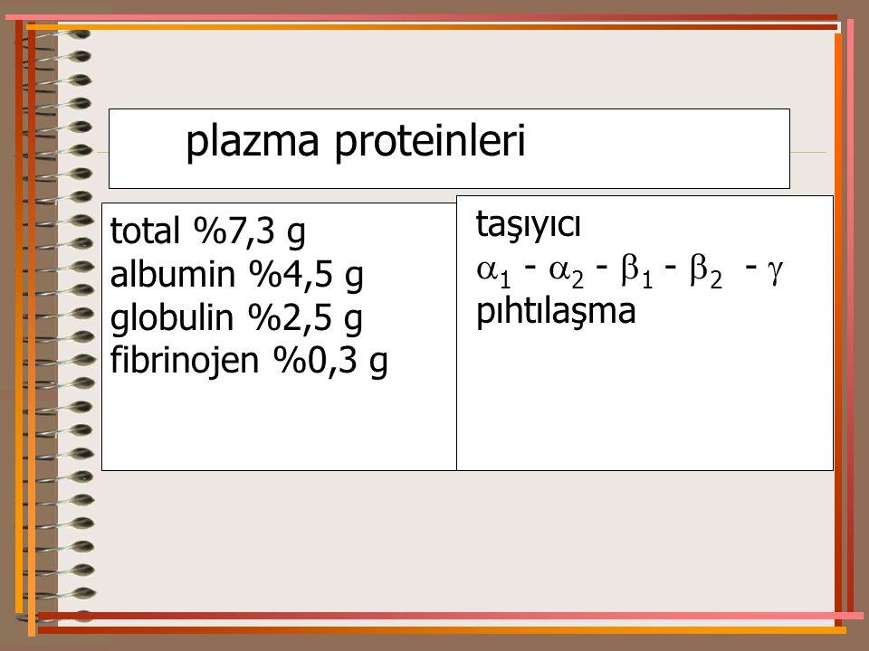 plazma proteinleri taşıyıcı total %7,3 g 1 - 2 - 1 - 2 - 