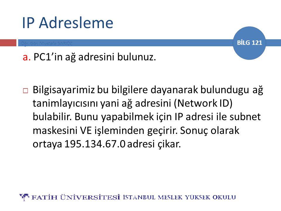 IP Adresleme a. PC1'in ağ adresini bulunuz.