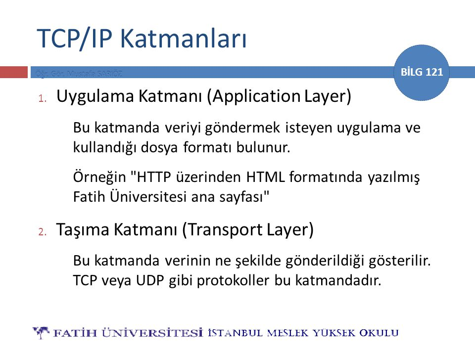 TCP/IP Katmanları Uygulama Katmanı (Application Layer)