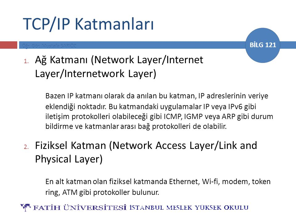 TCP/IP Katmanları Ağ Katmanı (Network Layer/Internet Layer/Internetwork Layer)