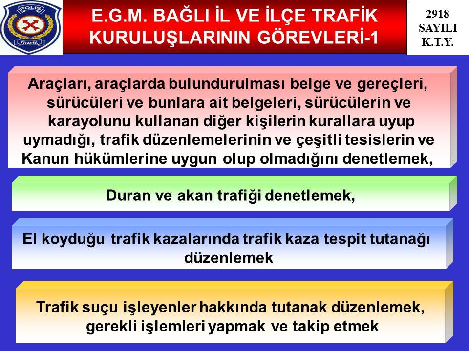 E.G.M. BAĞLI İL VE İLÇE TRAFİK KURULUŞLARININ GÖREVLERİ-1
