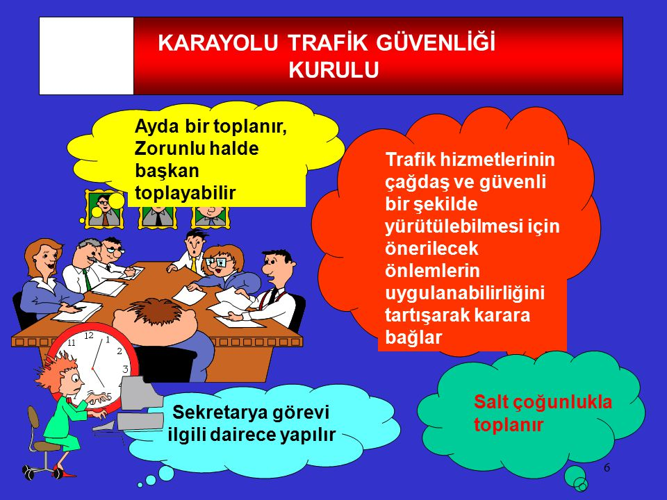 KARAYOLU TRAFİK GÜVENLİĞİ Sekretarya görevi ilgili dairece yapılır