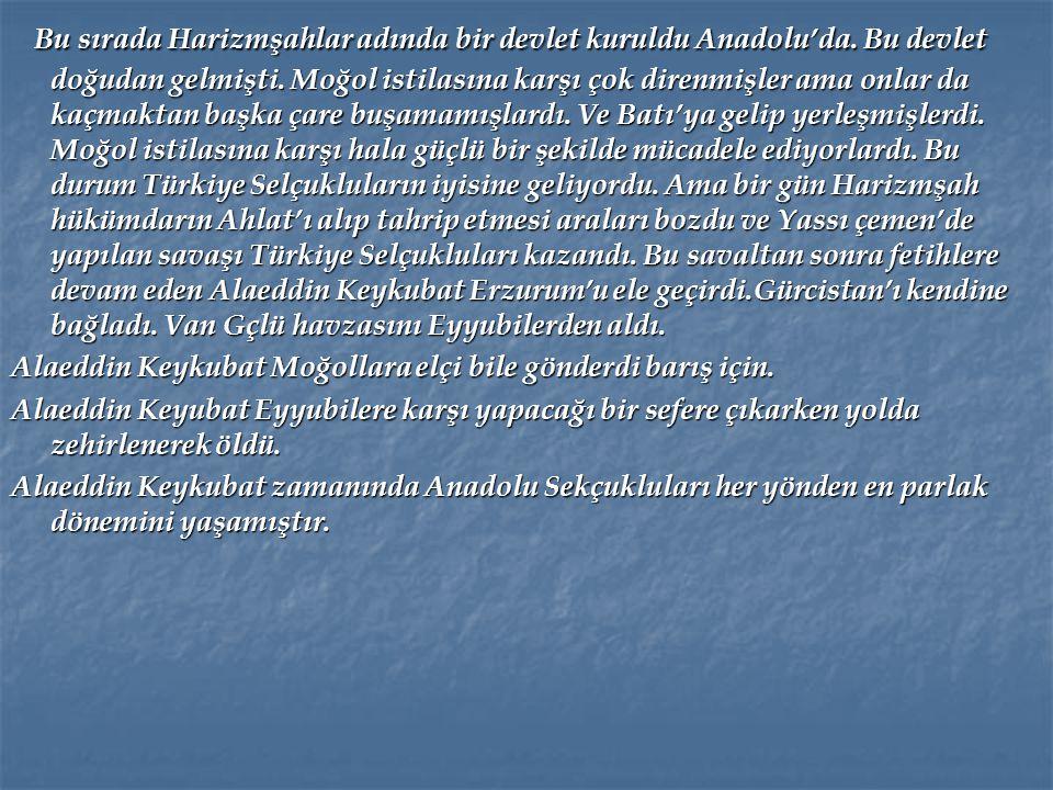 Bu sırada Harizmşahlar adında bir devlet kuruldu Anadolu'da