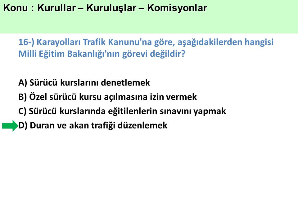 Konu : Kurullar – Kuruluşlar – Komisyonlar