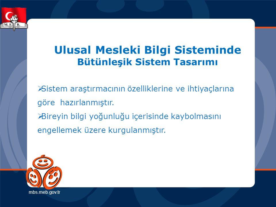 Ulusal Mesleki Bilgi Sisteminde Bütünleşik Sistem Tasarımı