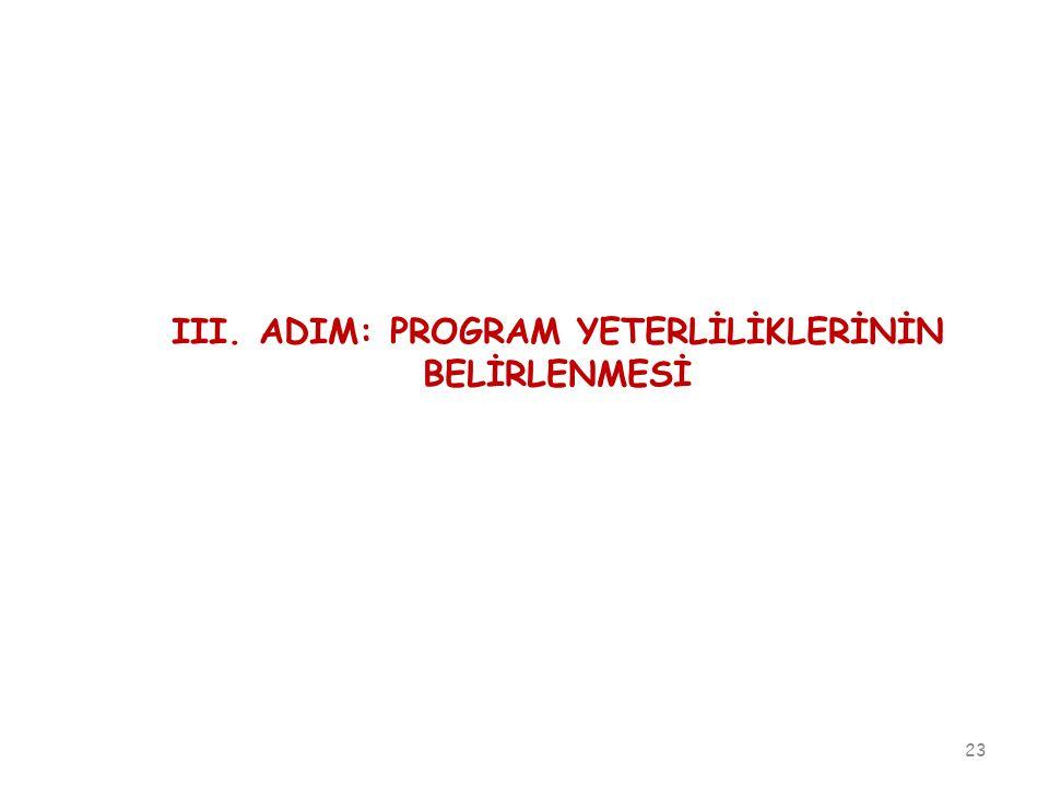 III. ADIM: PROGRAM YETERLİLİKLERİNİN BELİRLENMESİ
