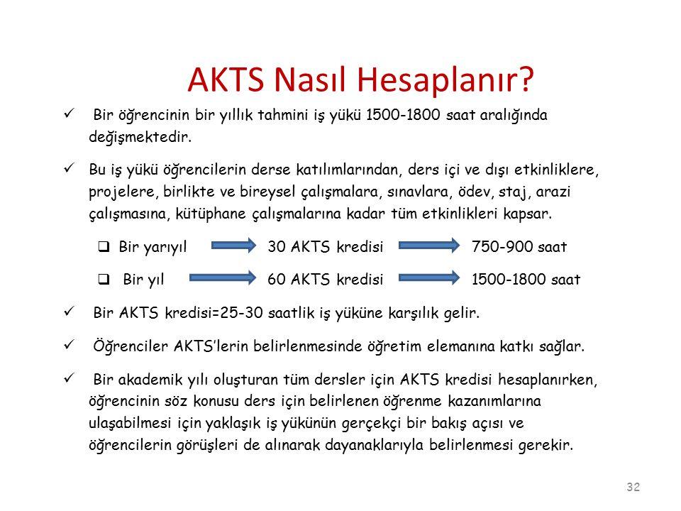 AKTS Nasıl Hesaplanır Bir öğrencinin bir yıllık tahmini iş yükü 1500-1800 saat aralığında değişmektedir.