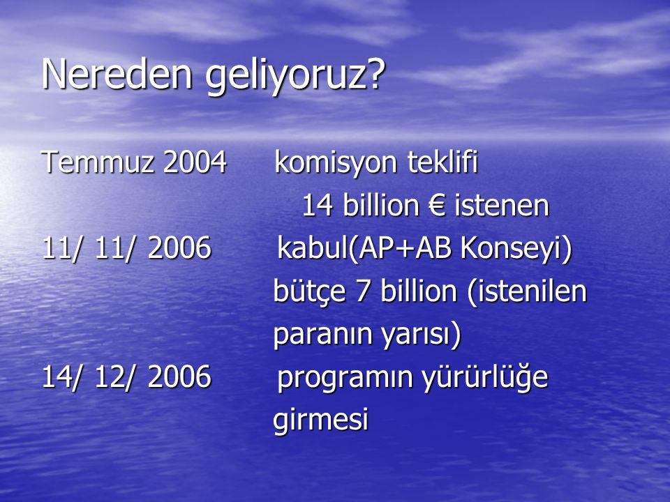 Nereden geliyoruz Temmuz 2004 komisyon teklifi 14 billion € istenen