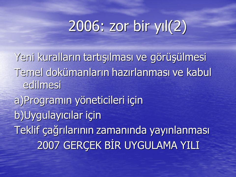 2006: zor bir yıl(2) Yeni kuralların tartışılması ve görüşülmesi