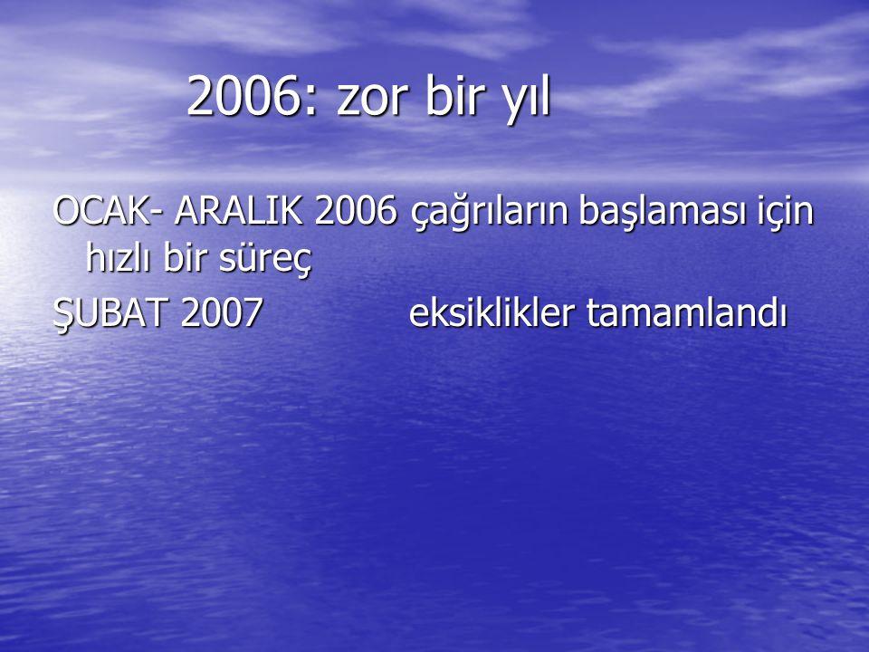 2006: zor bir yıl OCAK- ARALIK 2006 çağrıların başlaması için hızlı bir süreç.