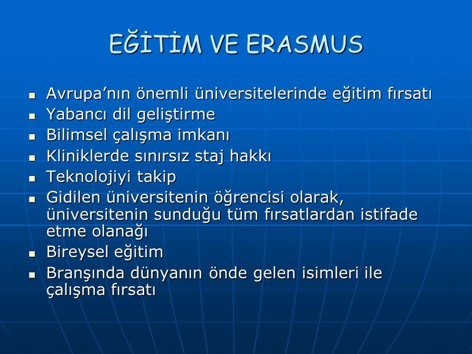 EĞİTİM VE ERASMUS Avrupa'nın önemli üniversitelerinde eğitim fırsatı