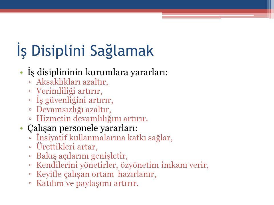 İş Disiplini Sağlamak İş disiplininin kurumlara yararları: