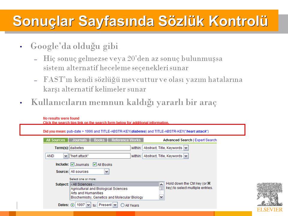 Sonuçlar Sayfasında Sözlük Kontrolü