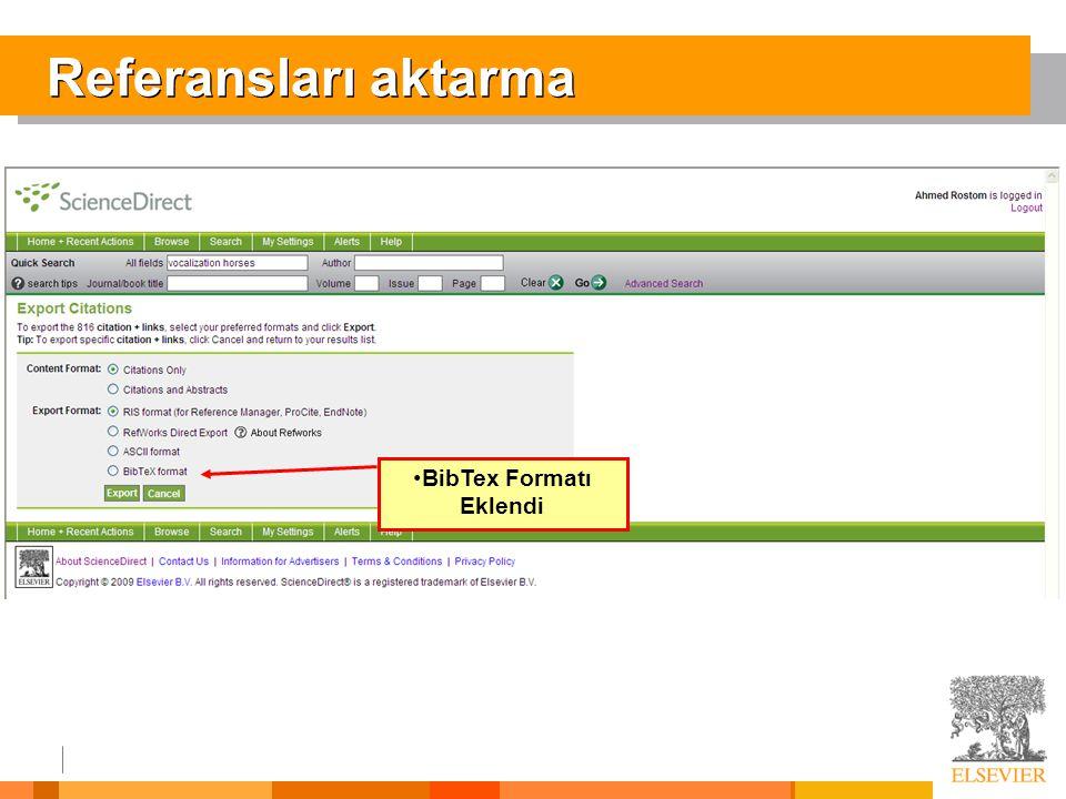 BibTex Formatı Eklendi
