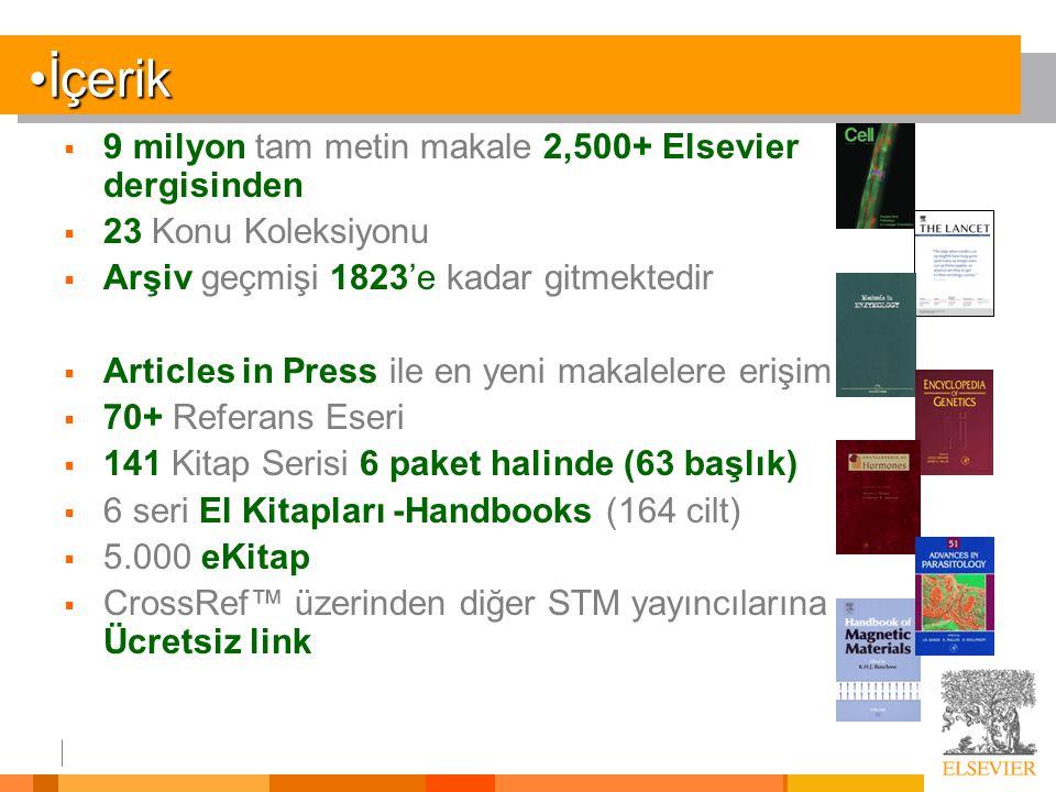 İçerik 9 milyon tam metin makale 2,500+ Elsevier dergisinden