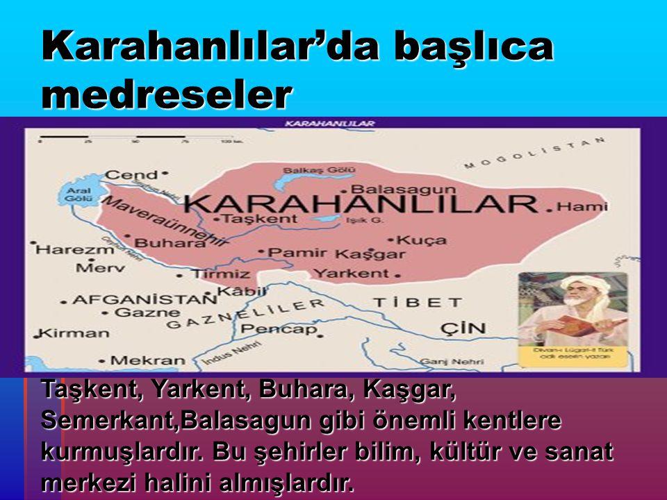 Karahanlılar'da başlıca medreseler