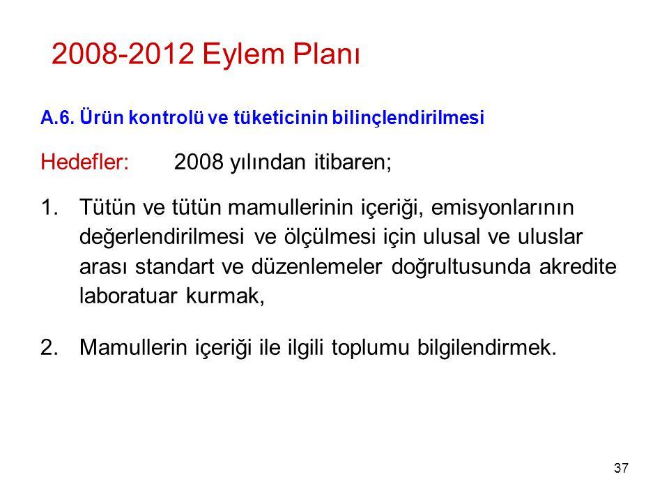 2008-2012 Eylem Planı Hedefler: 2008 yılından itibaren;
