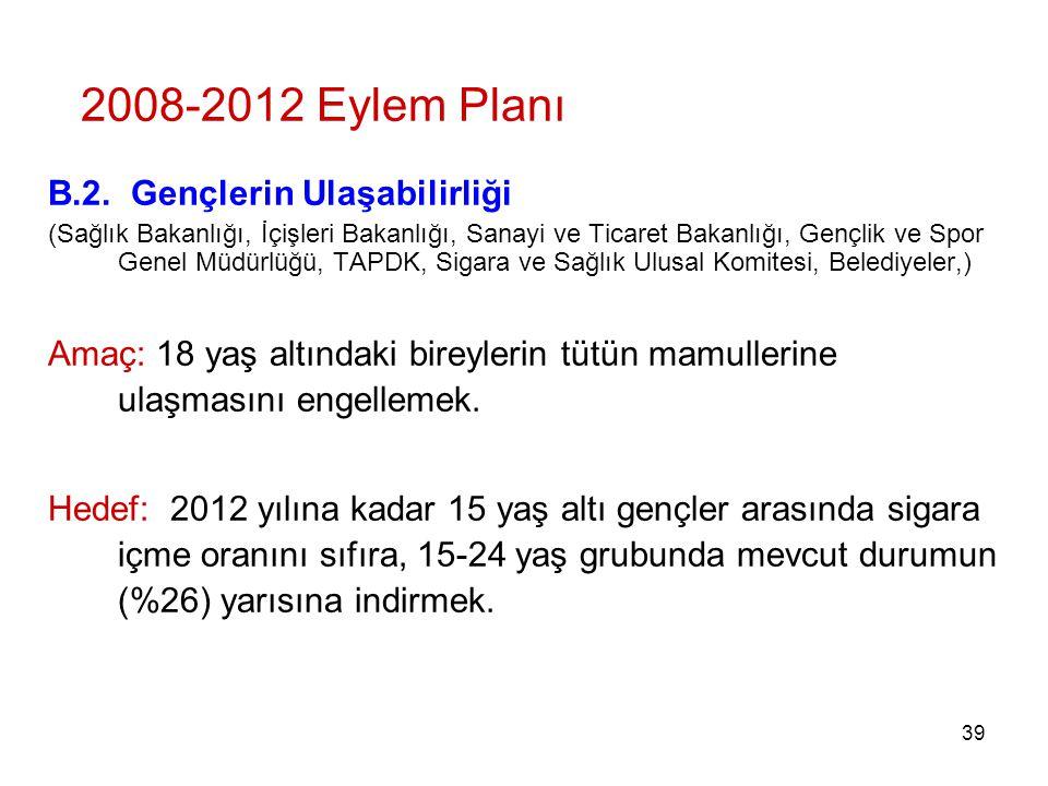 2008-2012 Eylem Planı B.2. Gençlerin Ulaşabilirliği