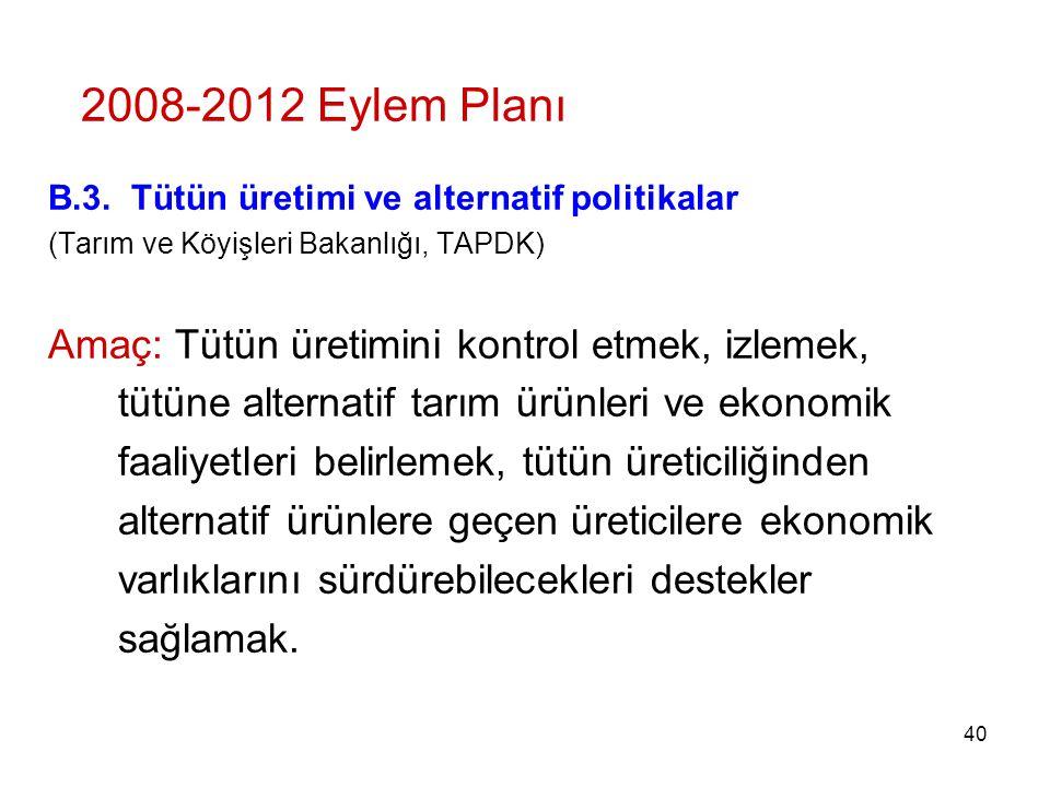 2008-2012 Eylem Planı B.3. Tütün üretimi ve alternatif politikalar. (Tarım ve Köyişleri Bakanlığı, TAPDK)