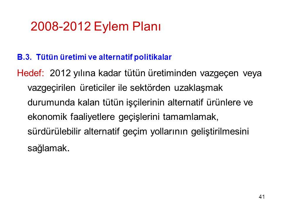 2008-2012 Eylem Planı B.3. Tütün üretimi ve alternatif politikalar.