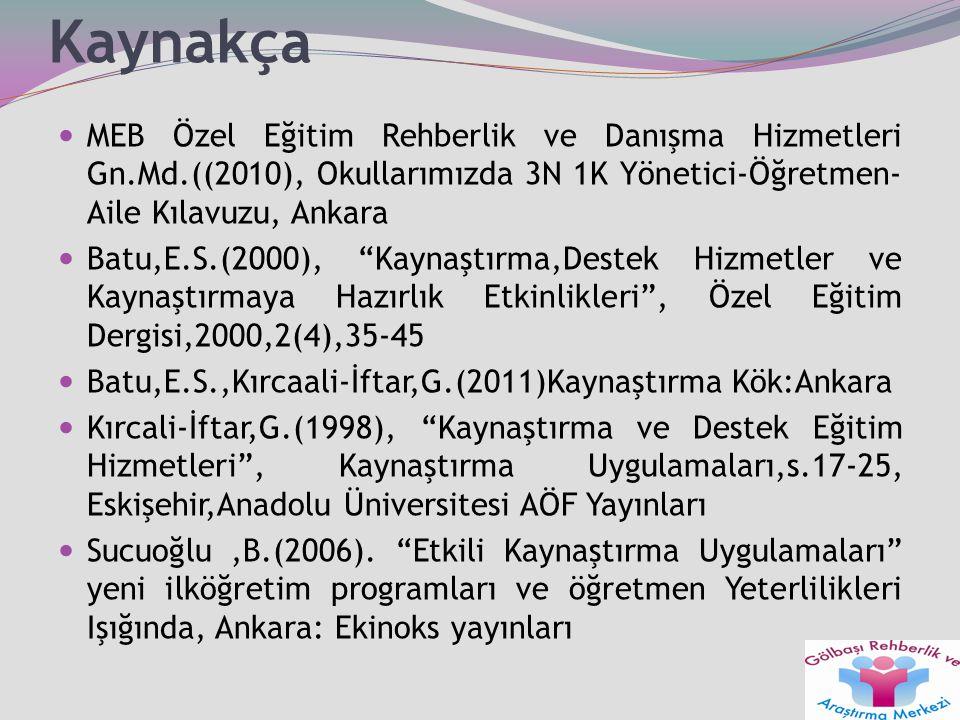 Kaynakça MEB Özel Eğitim Rehberlik ve Danışma Hizmetleri Gn.Md.((2010), Okullarımızda 3N 1K Yönetici-Öğretmen-Aile Kılavuzu, Ankara.