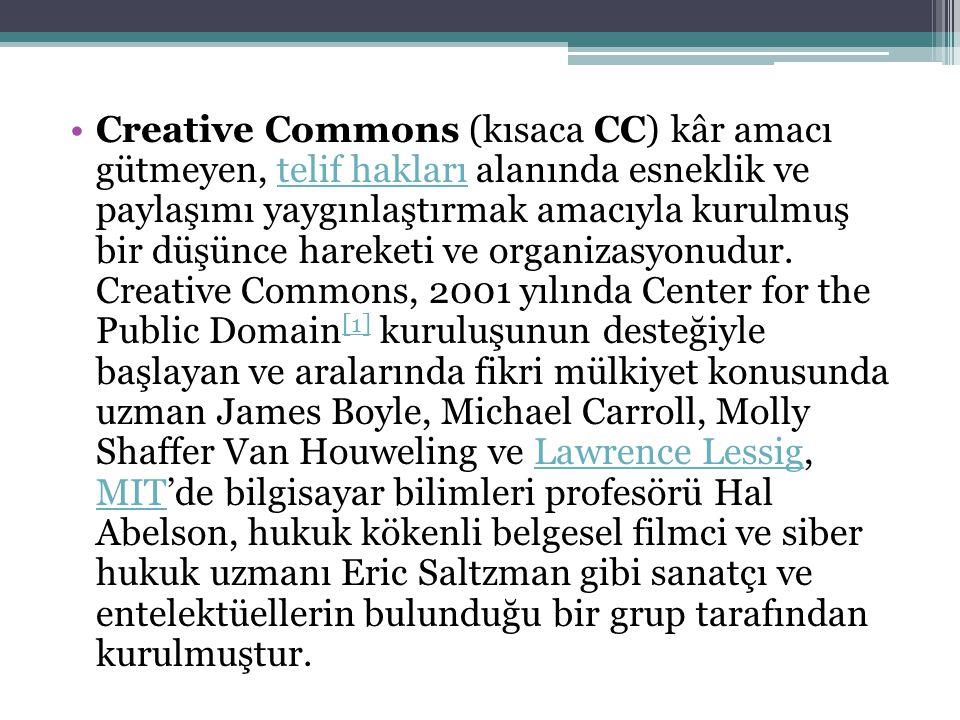 Creative Commons (kısaca CC) kâr amacı gütmeyen, telif hakları alanında esneklik ve paylaşımı yaygınlaştırmak amacıyla kurulmuş bir düşünce hareketi ve organizasyonudur.