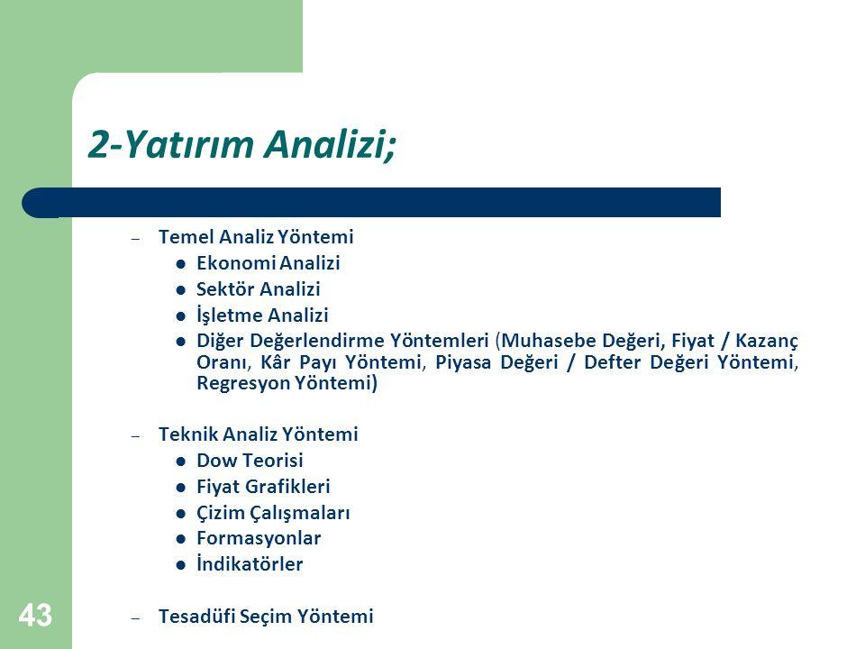 2-Yatırım Analizi; Temel Analiz Yöntemi Ekonomi Analizi Sektör Analizi