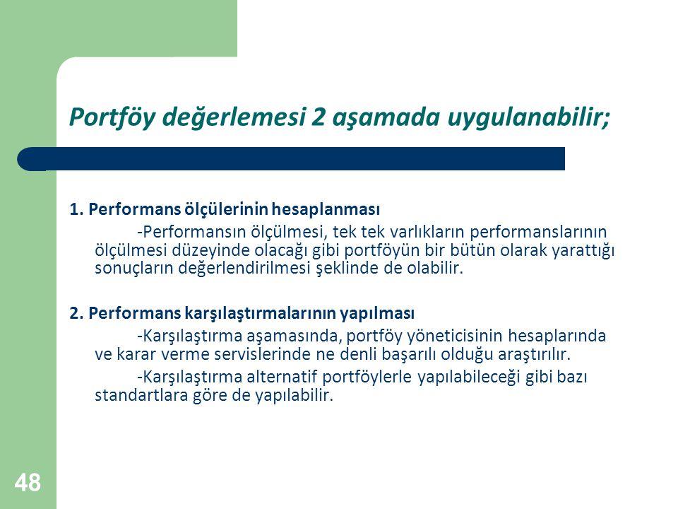 Portföy değerlemesi 2 aşamada uygulanabilir;