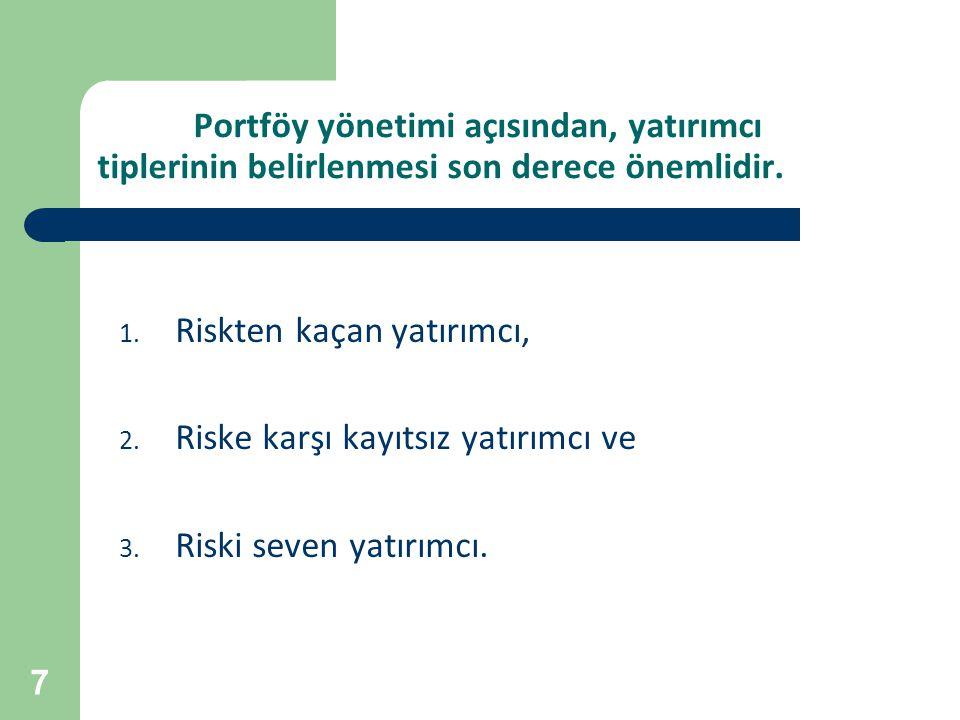 Portföy yönetimi açısından, yatırımcı tiplerinin belirlenmesi son derece önemlidir.