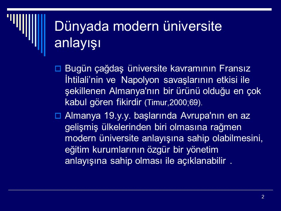 Dünyada modern üniversite anlayışı