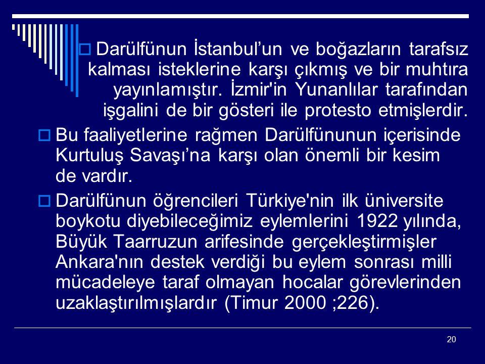 Darülfünun İstanbul'un ve boğazların tarafsız kalması isteklerine karşı çıkmış ve bir muhtıra yayınlamıştır. İzmir in Yunanlılar tarafından işgalini de bir gösteri ile protesto etmişlerdir.