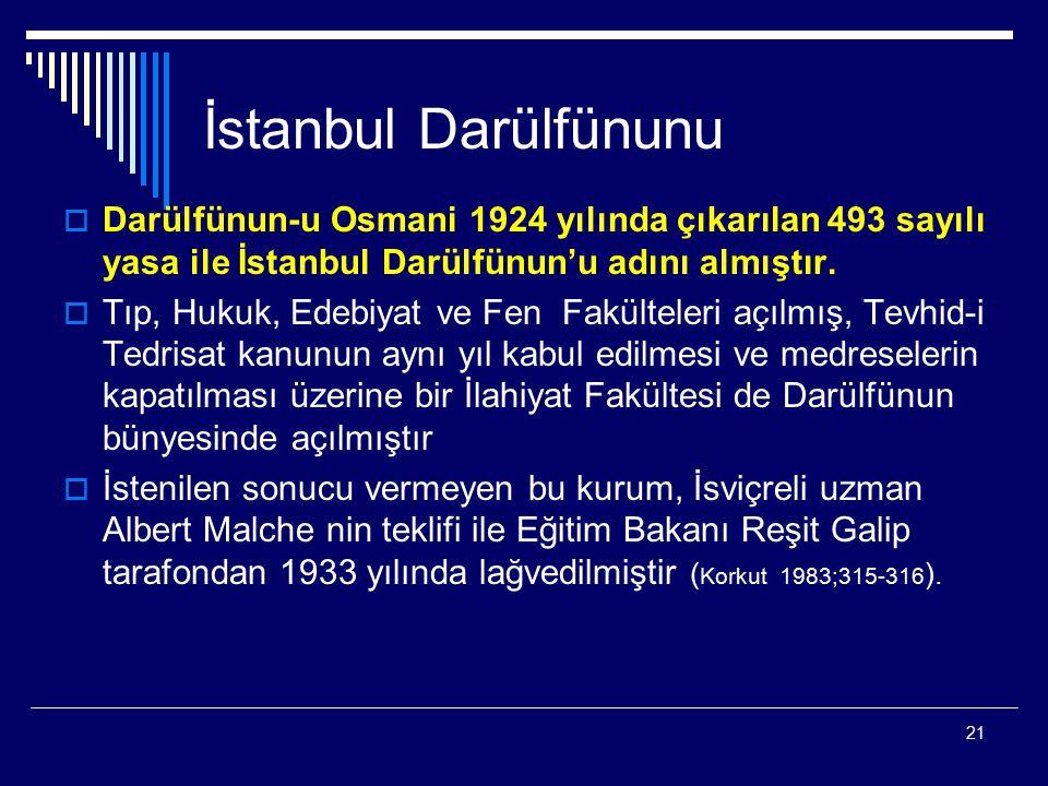 İstanbul Darülfünunu Darülfünun-u Osmani 1924 yılında çıkarılan 493 sayılı yasa ile İstanbul Darülfünun'u adını almıştır.