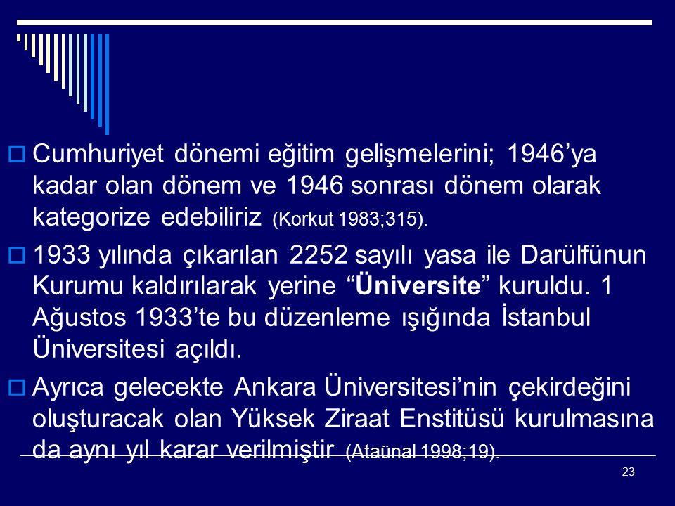 Cumhuriyet dönemi eğitim gelişmelerini; 1946'ya kadar olan dönem ve 1946 sonrası dönem olarak kategorize edebiliriz (Korkut 1983;315).