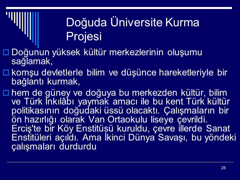 Doğuda Üniversite Kurma Projesi