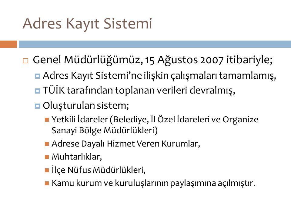 Adres Kayıt Sistemi Genel Müdürlüğümüz, 15 Ağustos 2007 itibariyle;
