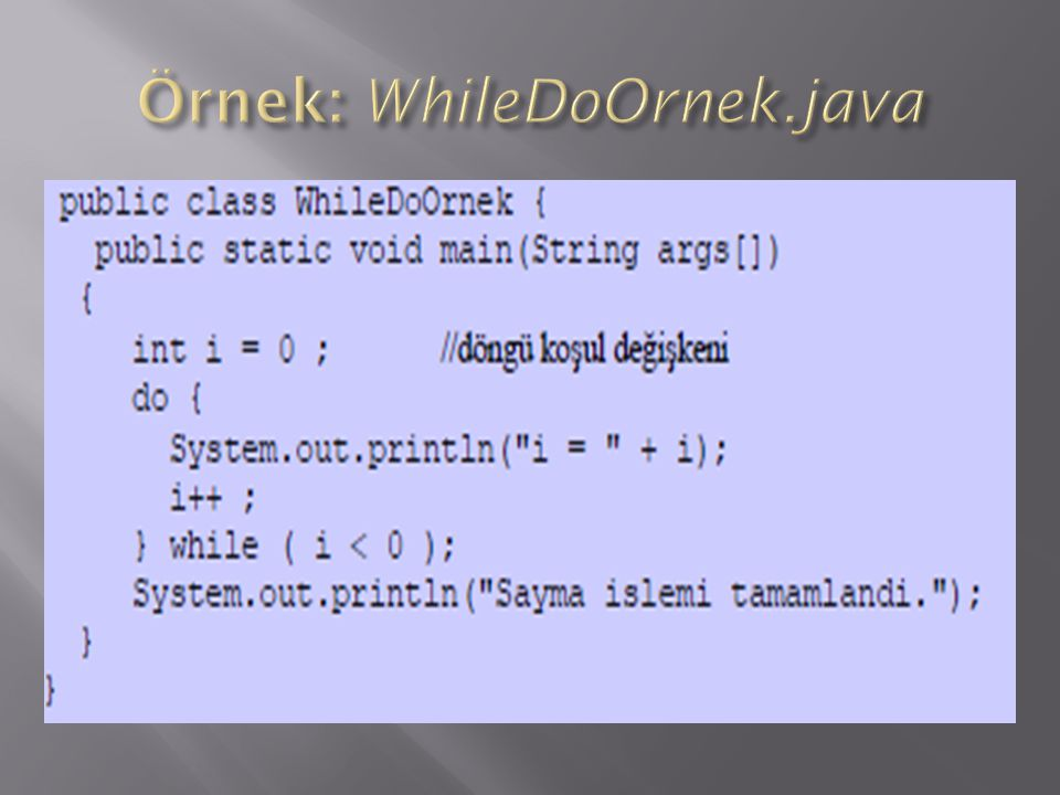 Örnek: WhileDoOrnek.java