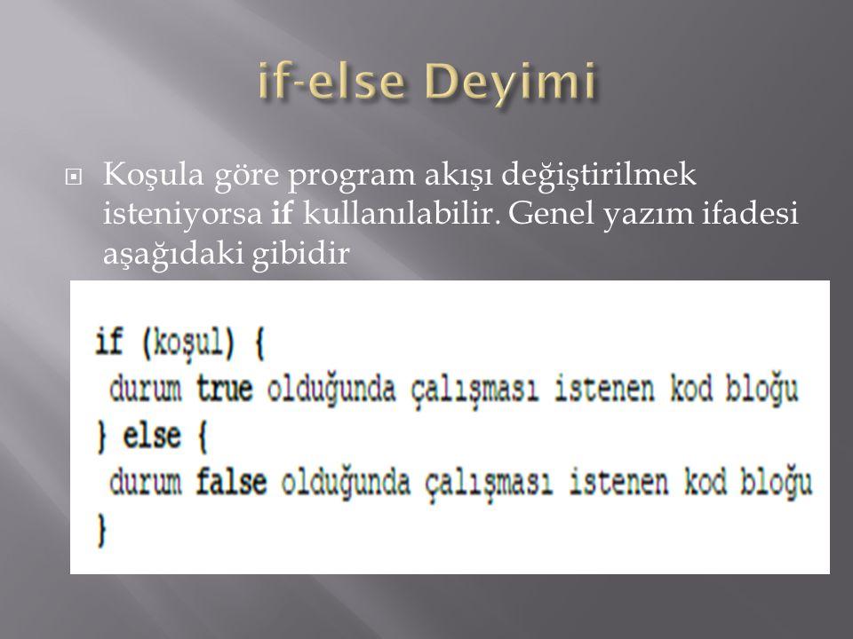 if-else Deyimi Koşula göre program akışı değiştirilmek isteniyorsa if kullanılabilir.