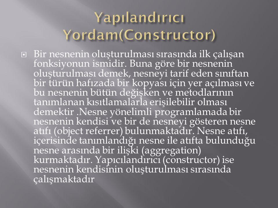 Yapılandırıcı Yordam(Constructor)