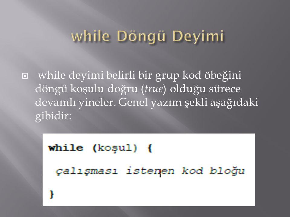 while Döngü Deyimi
