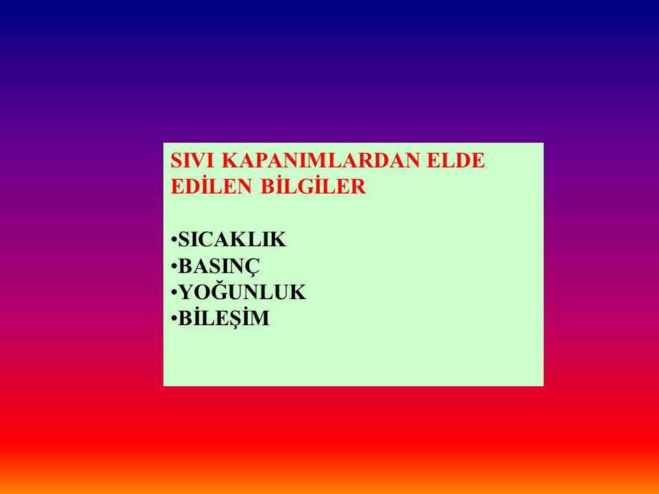 SIVI KAPANIMLARDAN ELDE EDİLEN BİLGİLER