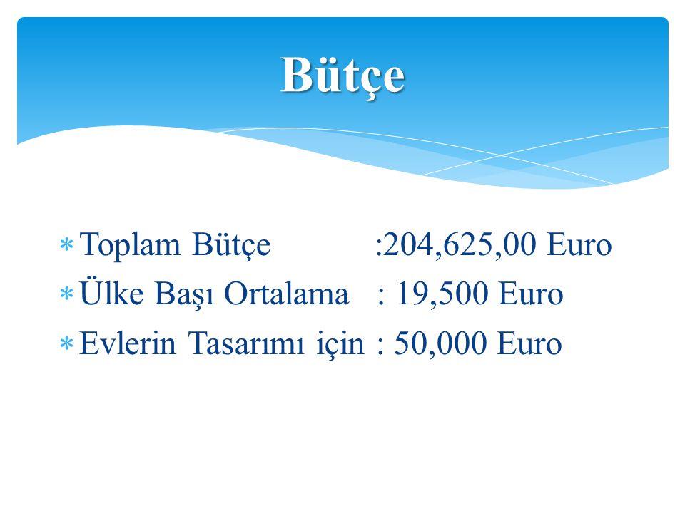 Bütçe Toplam Bütçe :204,625,00 Euro Ülke Başı Ortalama : 19,500 Euro