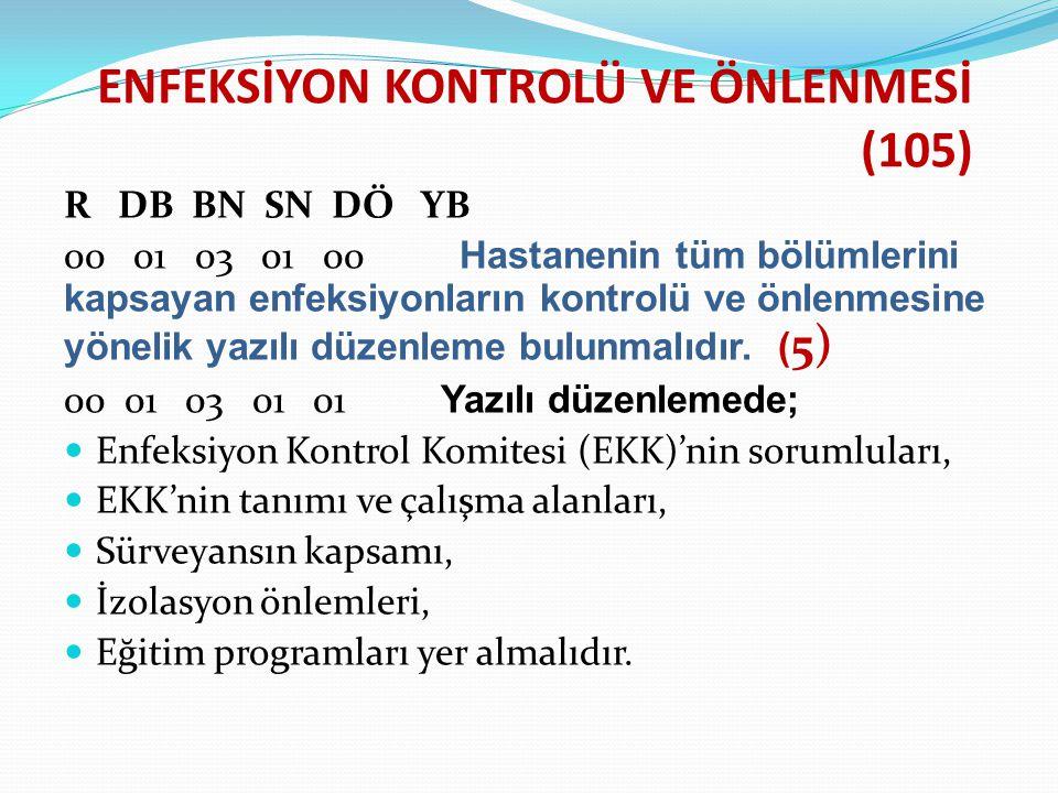 ENFEKSİYON KONTROLÜ VE ÖNLENMESİ (105)
